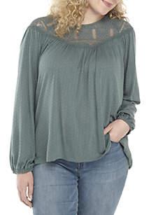 Plus Size Lace Pointelle Long Sleeve Knit