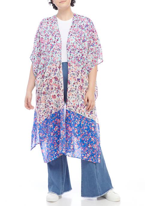 Plus Size Color Block Kimono