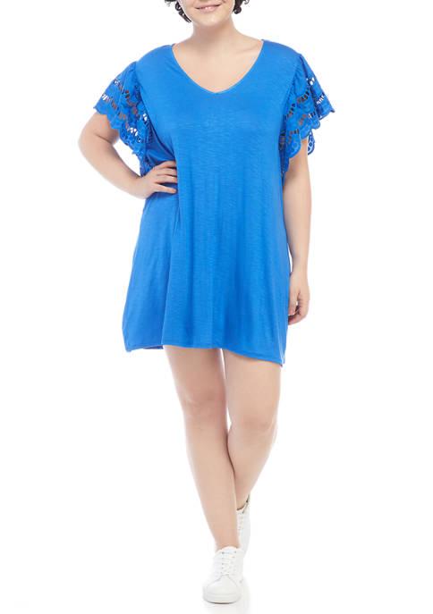 Eyeshadow Plus Size Lace Flutter Sleeve Dress