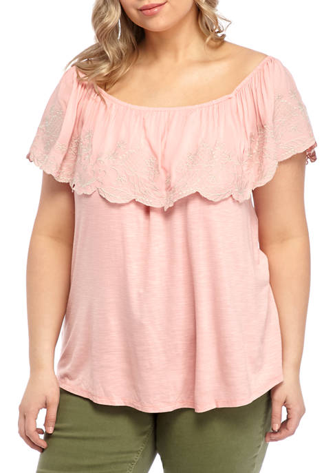 Eyeshadow Plus Size Embroidered Off the Shoulder Knit