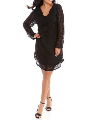 Plus Size Long Bubble Sleeve Lace Front Dress