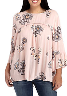 Plus Size Three-Quarter Sleeve Floral Lattice Yoke Blouse