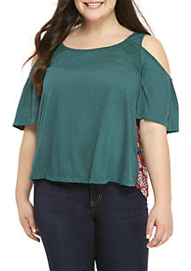 Plus Size Cold Shoulder Knit Top