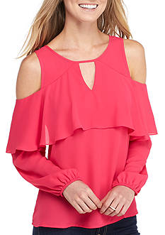 Eyeshadow Ruffle Cold Shoulder Blouse
