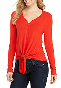 Long Sleeve V-Neck Button Down Tie Front Top