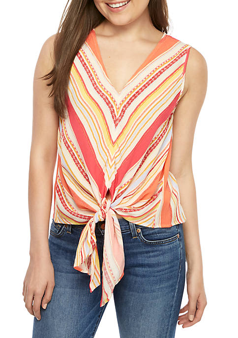 Eyeshadow Woven Tie Front Tank