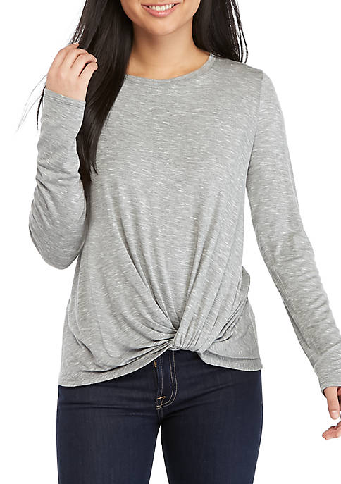 Eyeshadow Long Sleeve Twist Front Shirt
