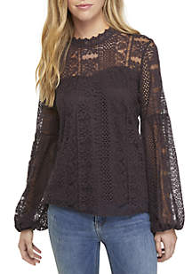 Long Sleeve Mock Neck Vertical Lace Top