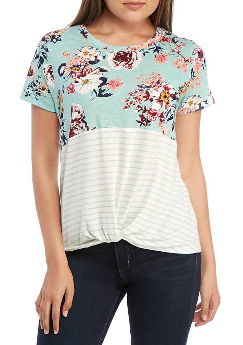Eyeshadow Short Sleeve Floral Color Block T Shirt