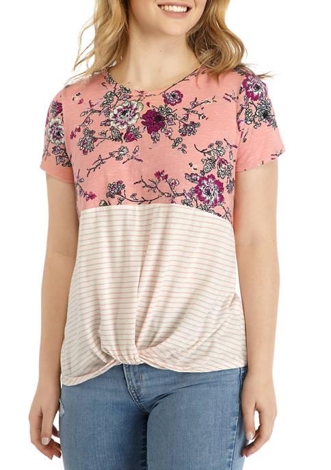 Juniors Short Sleeve Floral Color Block T-Shirt