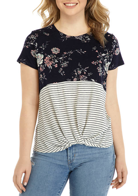 Eyeshadow Juniors Short Sleeve Floral Color Block T-Shirt