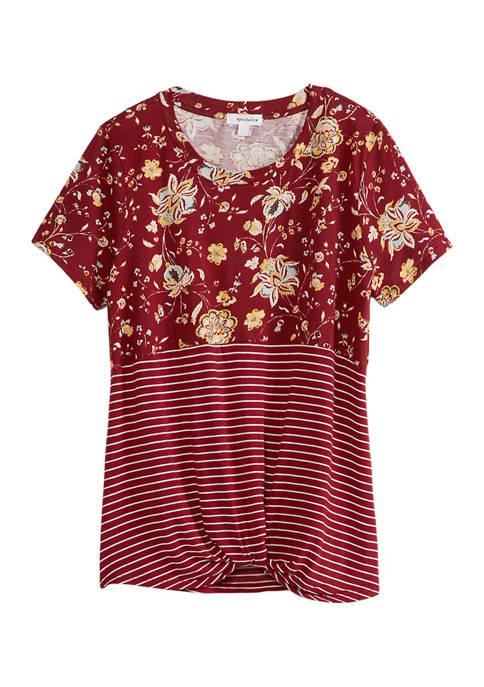 Eyeshadow Juniors Floral Stripe Color Block T-Shirt