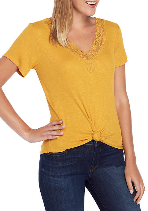 Eyeshadow Short Sleeve Rib Lace V Neck Top