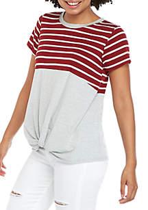 Eyeshadow Short Sleeve Stripe Colorblock T Shirt
