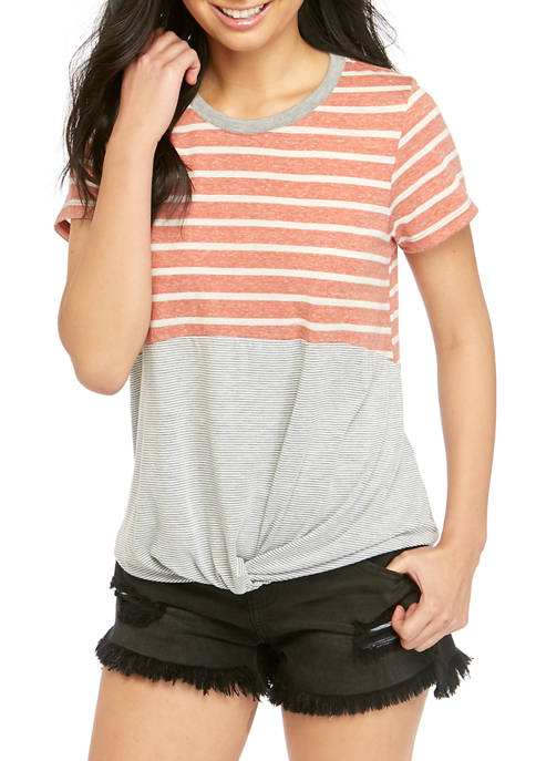 Eyeshadow Short Sleeve Stripe Colorblock T Shirt
