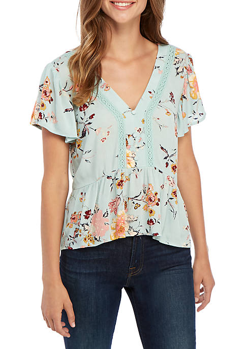 Eyeshadow Short Sleeve Floral Button Front Peplum Top