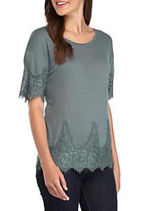 Short Sleeve Lace Hem Top