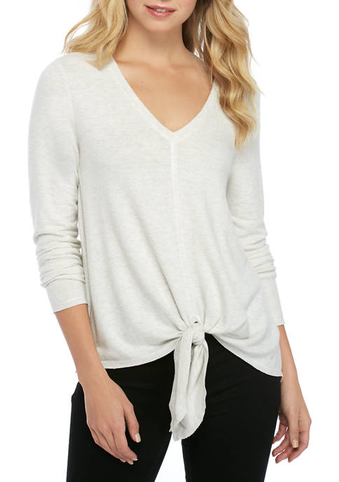 Eyeshadow Long Sleeve Hacci V Neck Twist Front