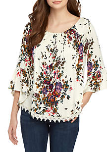 Eyeshadow Off The Shoulder 3/4 Sleeve Smocked Floral Top