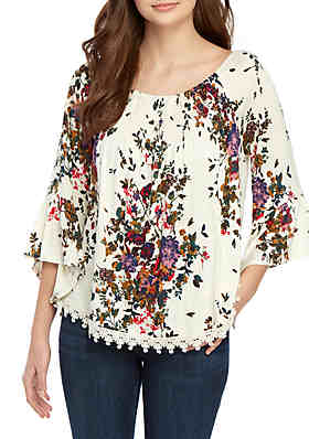 3a20424bc6dfd3 Eyeshadow Off The Shoulder 3 4 Sleeve Smocked Floral Top ...
