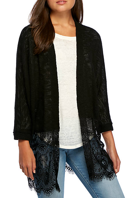 Eyeshadow Three-Quarter Lace Hem Cardigan
