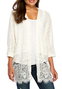 Three-Quarter Lace Hem Cardigan