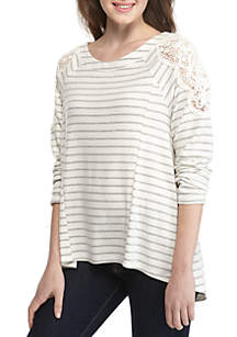 Long Sleeve Stripe Fuzzy Lace Shoulder Pullover