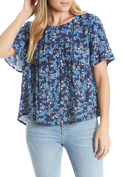 Eyeshadow Short Sleeve Velvet Trim Woven Blouse