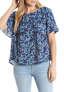 Short Sleeve Velvet Trim Woven Blouse