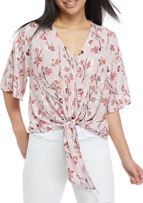 Eyeshadow Juniors Floral Elbow Sleeve Tie Front Top