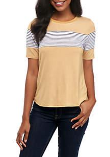 Short Sleeve Chest Stripe Ringer Tee