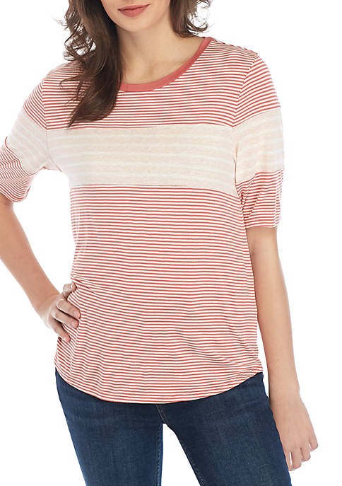 Eyeshadow Short Sleeve Mix Stripe Top