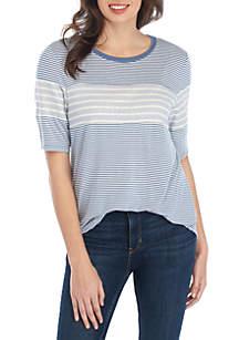 Eyeshadow Short Sleeve Mix Stripe Top
