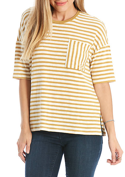 Eyeshadow Oversized Striped Pocket Tee