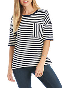 Oversized Striped Pocket Tee