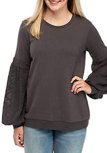 Long Textured Balloon Sleeve Sweatshirt
