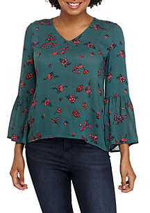 Long Sleeve Print V-Neck Bell Sleeve Top