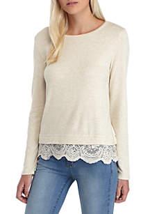 Long Sleeve Lace Hem X-Side Sweatshirt
