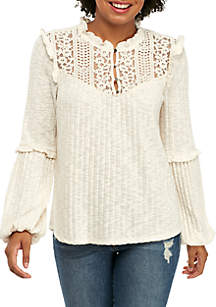 High Neck Lace Yoke Long Sleeve Pleated Top