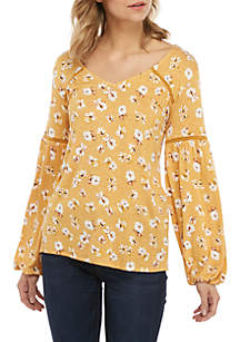 Eyeshadow Long Sleeve Floral V Neck Woven Top