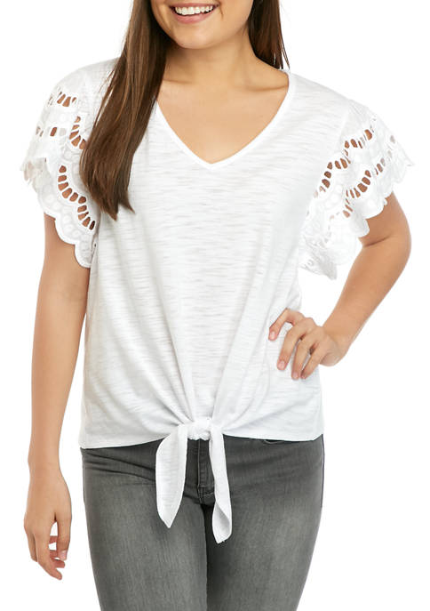 Eyeshadow Juniors Short Crochet Sleeve Tie Front Top