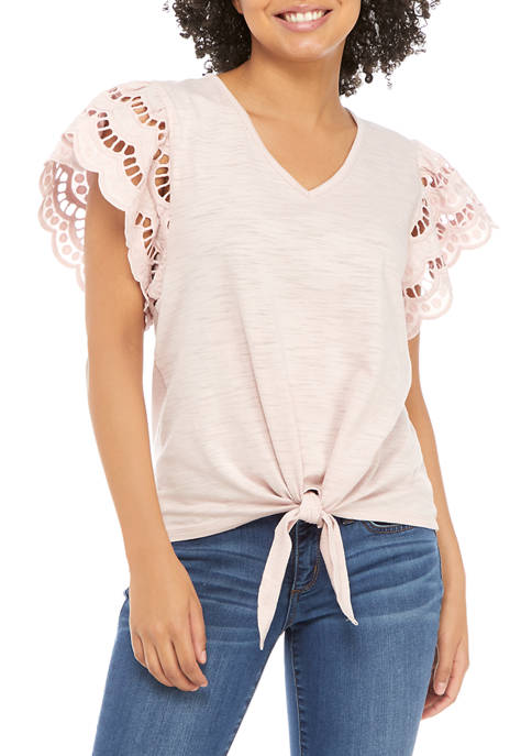 Juniors Crochet Trim Tie Front Shirt