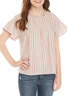 Eyeshadow Ruffle Neck Flutter Sleeve Stripe Textured Top