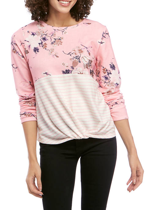 Eyeshadow Juniors Long Sleeve Floral Color Block T-Shirt
