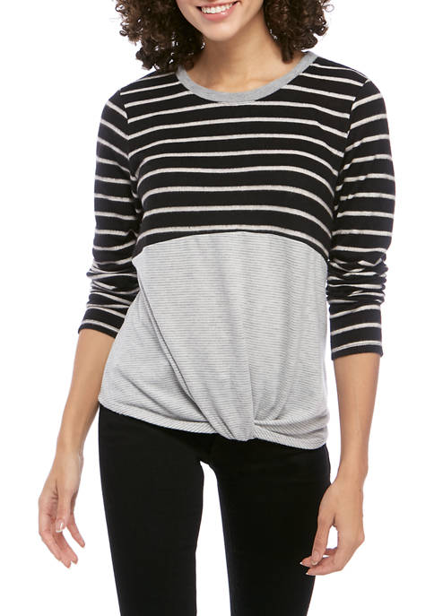 Eyeshadow Juniors Long Sleeve Stripe Color Block T-Shirt