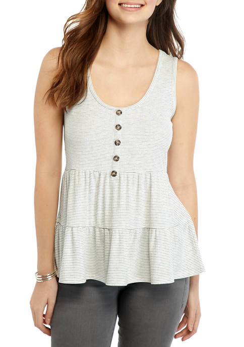 Eyeshadow Juniors Tiered Babydoll Tank