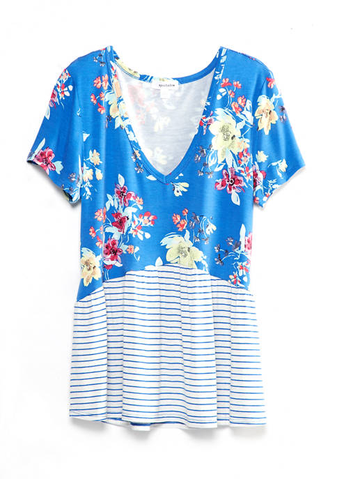 Juniors Mixed Print Babydoll Top