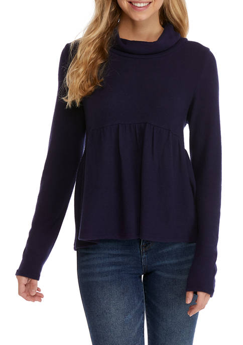Juniors  Hacci Babydoll Cowl Neck Sweater