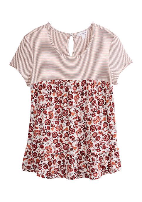 Juniors Short Sleeve Color Block Babydoll Top