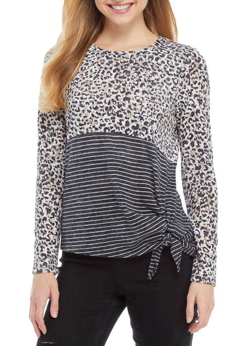 Eyeshadow Juniors Long Sleeve Colorblock Tie Front Top